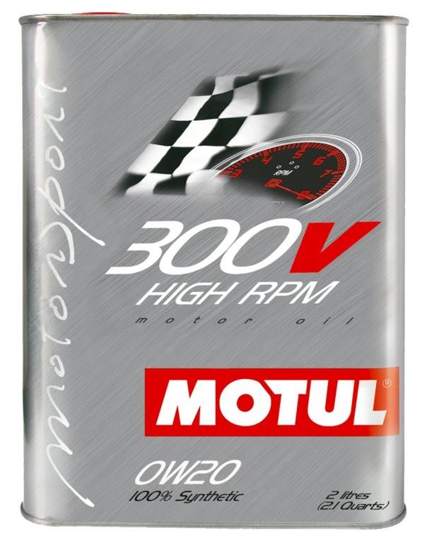 Pilnai sintetinė variklio alyva MOTUL 300V High RPM 0W20 2L