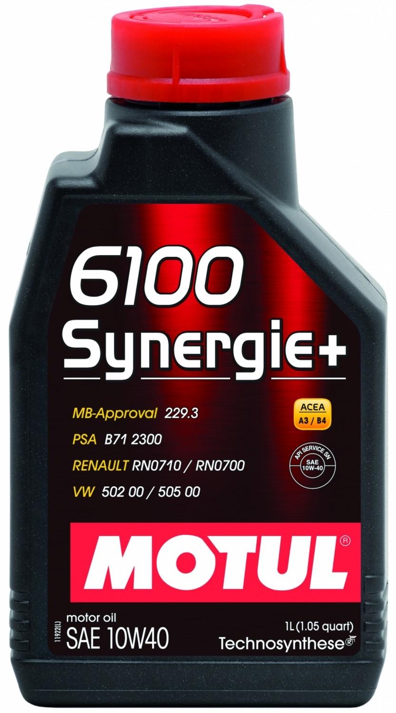 Pusiau sintetinė variklio alyva MOTUL 6100 SYNERGIE+ 10W40 1L
